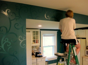 Hand-Painting Accents to Blank Walls Enhance Drama