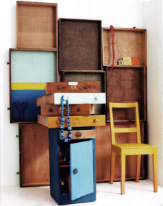 Salvaged Drawers from Online Auctions Used as Shelving